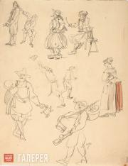 "Shchusev Alexei. Preliminary sketch of costumes for ""The Sisters Gérard"". 1926-1"