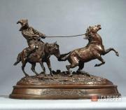Е.А. Лансере. Ловля дикой лошади. Модель 1870-х