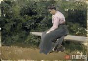 Korin Alexei. Serafima Korina on a Bench. 1903