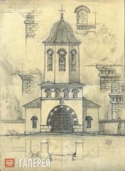 Working draft of the belfry of the Holy Trinity Church in Cuhureştii façade