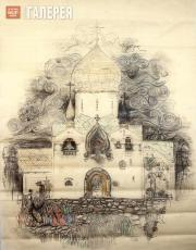 Architectural drawing of the Church of the Intercession at the Marfo-Mariinsky C