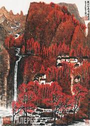 """Li Keran. """"Ten thousand mountains stretch out in red; the layered woods are colo"""