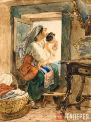 Italian Woman with a Baby by the Window. 1826