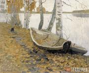 Sidorov Valentin. Autumn. Leaves Fell on the Boats. 1956