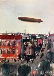 Дирижабль над городом. 1932
