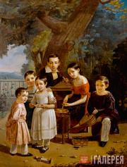 Zakharov-Chechenets Pyotr. Portrait of the Yermolov Children. 1839