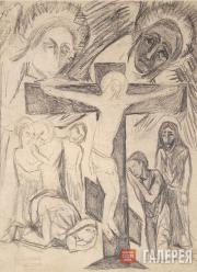 Goncharova Natalia. Crucifixion with Interceding. 1912 (?)
