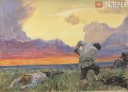 """Plastov Arkady. Illustration to """"How Much Land Does a Man Need?"""" by Leo Tolstoy."""