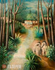 Sacharoff Olga. Landscape with Zebras