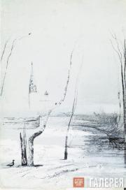 Savrasov Alexei. Landscape with Church and Bell-Tower. Early 1870s