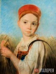 Venetsianov Alexei. A Peasant Girl with Scythe in the Rye. Late 1810s-early 1820
