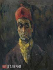 Falk Robert. Self-portrait in Red Fez and Yellow Scarf. 1936