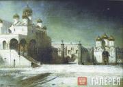 Savrasov Alexei. Sobornaya square in the Moscow Kremlin at night. 1878