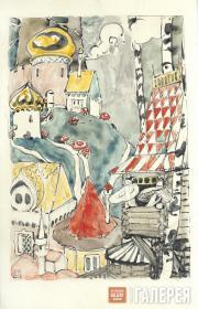 """Polenova Yelena. Milkcap Settlement. Illustration to the fairy tale """"War of the"""
