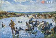 Plastov Arkady. Bathing of the Horses. 1937