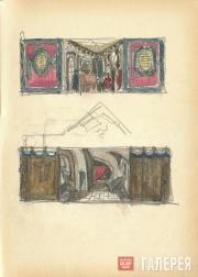 "Shchusev Alexei. Sketch of set design for ""The Sisters Gérard"". 1926-1927"