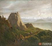Lermontov Mikhail. View of the Caucasus with Camels. 1837-1838