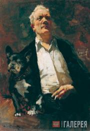 Автопортрет с собакой Ватрушкой. 1943