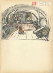 "The Lair. Scene III, Act III. Sketch of set design for ""The Sisters Gérard"".  Ve"