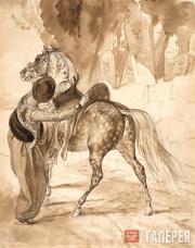 К.П. БРЮЛЛОВ. Турок, садящийся на коня. 1835