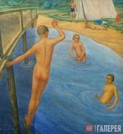 Nikolai Sekirin (1899-1962). Young Pioneer's Camp. Swimming. 1927
