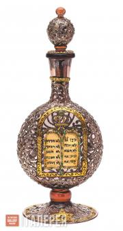 Kiddush Decanter with Images of Menorah, Magen David, the Ten Commandments in Ar