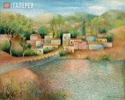 Sacharoff Olga. Village at the Bank of a Pond. 1957