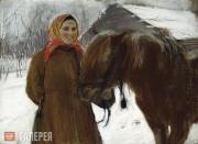 Serov Valentin. In a Village. A Peasant Woman with a Horse. 1898
