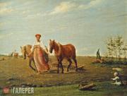 Venetsianov Alexei. On a Tillage. Springtime. First half of the 1820s