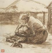 Mikhail RODIONOV. Fleecing the Sheep. 1927