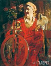 Портрет жены художника. За прялкой. 1930-е