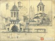 Working draft of the belfry of the Holy Trinity Church in Cuhureştii. Façade, pl