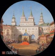 Vasily Sadovnikov. The Voskresenskiye Gates of Kitai-Gorod During the Celebratio