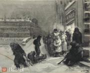 "Boim Solomon. Outside a bakery. From the series ""Leningrad during the blockade""."