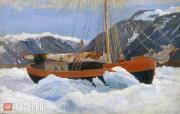 "Borisov Alexander. A Sailing Ship in Ice. (""The Dream"" Sailing Ship). 1899"