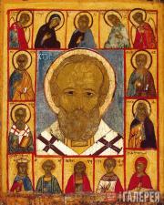 Неизвестный художник. Святой Никола, с Деисусом и избранными святыми. Первая пол