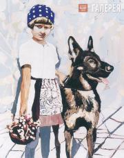 Cornelia Schleime. A Girl with a Watch-dog. 1998