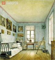 NIKOLAI TIKHOBRAZOV. A Room in Alexei Tomilov's House at His Uspenskoye Estate i