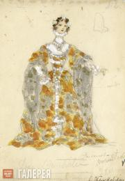 "Gurly Telyakovskaya. Sketch of a woman's costume for Ludwig Minkus' ballet  ""Don"