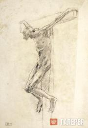 Ghe Nikolai. The sitter in the posture of crucified Christ. Study