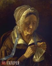 Khrutsky Ivan. Old Woman Knitting a Stocking. 1838