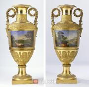 A Magnificent Pair of Russian Porcelain Palace Vases. 1825