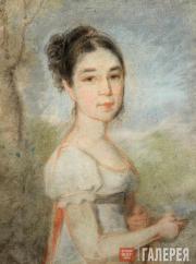 Venetsianov Alexei. Portrait of Yekaterina Balkashina (1802-?) nee Stromilova. 1