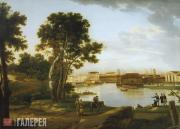 View of the Tuchkov Bridge and Vassilievsky Ostrov from Petrovsky Island in St.
