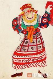 "Goncharova Natalia. Russian Housemaid. Costume design for ""Le Coq d'Or"" (The Go"
