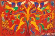 Goncharova Natalia. Composition with Horses and Sirin Birds. 1915