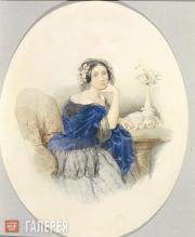 Sokolov Pyotr. Portrait of Princess F.Golytsina. 1847