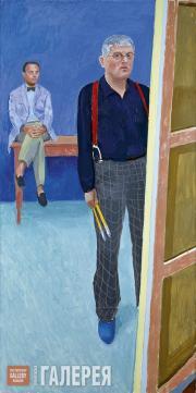 David HOCKNEY. Self-portrait with Charlie. 2005