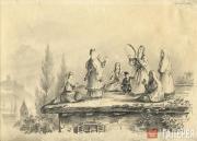 Lermontov Mikhail. Georgian Women on a Hut Roof. 1837 (?)