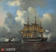Philippe Tanneur. Russian Naval Ship at Sea. 1836